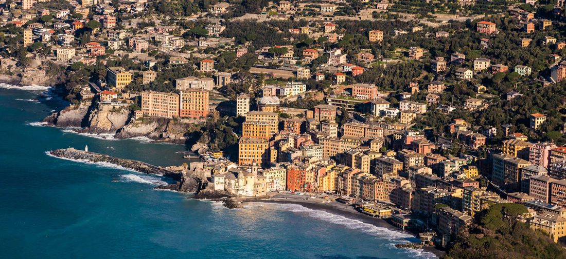Aerial view of Camogli, small town near Genoa (Liguria, Italy) Camogli City Cityscape Coastline Genoa Genova Mediterranean  Panoramic Promenade Travel View Aerial View Buildings Coast Italy Landmark Landscape Liguria Outdoors Scenics Sea Seascape Town Urban Village