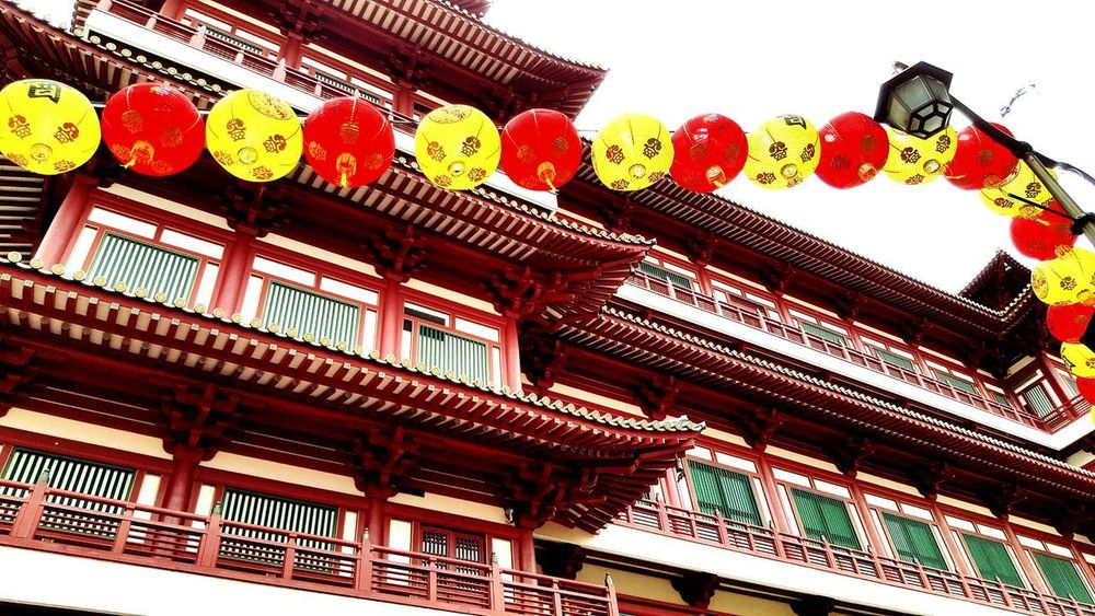 Shapes and sizes. Colors Structures PhonePhotography Travelabroad Lucky Charms Lantern Windows ASIA Southeastasia Chinatown Chinese Temple Tourism Bestdestinations Visitsingapore Low Angle View Architecture Day Built Structure Multi Colored Outdoors