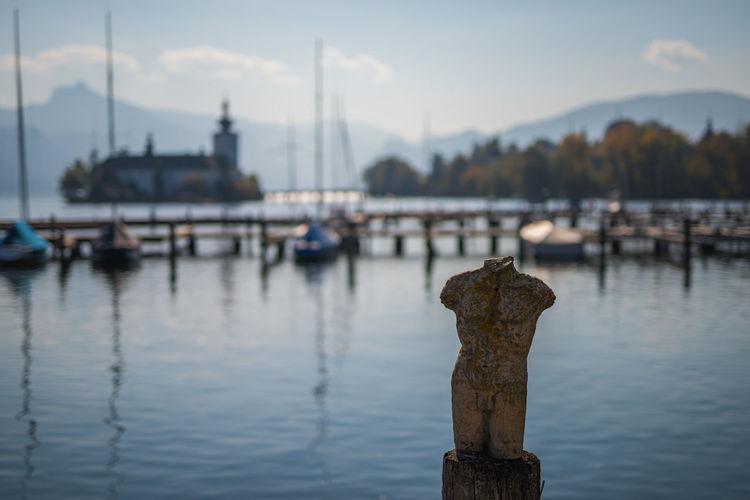 View of wooden post in harbor