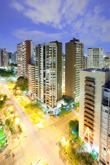 Panoramic view of Batel neighborhood and Praca do Japao (Japan Square), Curitiba, Parana State, Brazil Brazil Curitiba Skyline Architecture Batel Building Exterior Built Structure City Cityscape High Angle View Illuminated Night Road Skyscraper