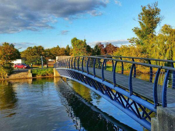 Bridge View Autumn Nature Water Trees Sky And Clouds Blue Metal Hdr_collection EyeEm Gallery Sunnyday☀️