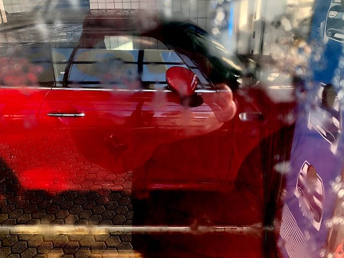 Waschanlage, car wash 🚘💦🌊✨ Car Wash Day Red Mode Of Transportation Car Motor Vehicle Transportation Glass - Material My Best Photo Red Incidental People Motion Reflection Blurred Motion Outdoors Tail Light Transparent Speed Day Transportation Land Vehicle City Window Taxi Street Red Transportation Reflection