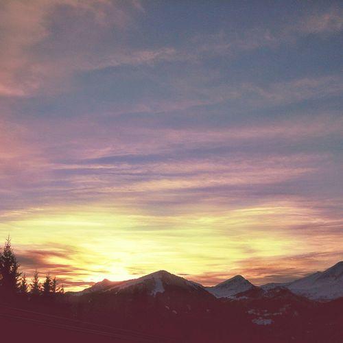Porte du Soleil sunset. Mountains And Sky Winter Landscape Snowboarding Sunset #sun #clouds #skylovers #sky #nature #beautifulinnature #naturalbeauty #photography #landscape