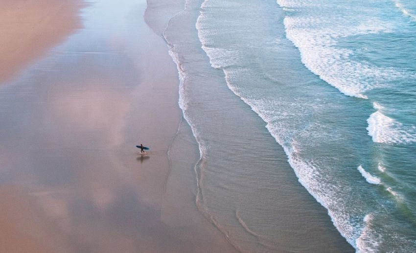 Surfer Water High Angle View Day Full Frame Backgrounds Land Beach Beauty In Nature Outdoors Pattern Nature Aerial View Scenics - Nature Sand Sea