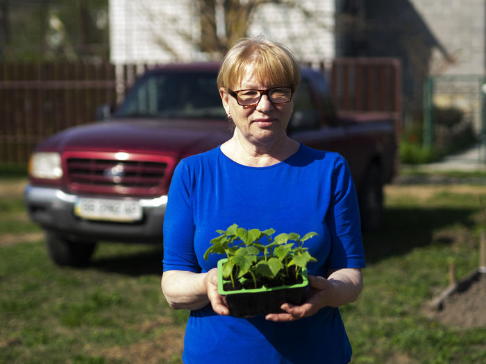 Senior caucasian woman is holds a container with cucumber seedlings. Seedlings Senior Women Caucasian Holds Container Cucumber Glasses Front View Eyeglasses  One Person Real People Focus On Foreground Waist Up Lifestyles Day Casual Clothing Standing Women Holding Plant Nature Adult Three Quarter Length Mode Of Transportation Outdoors Hairstyle
