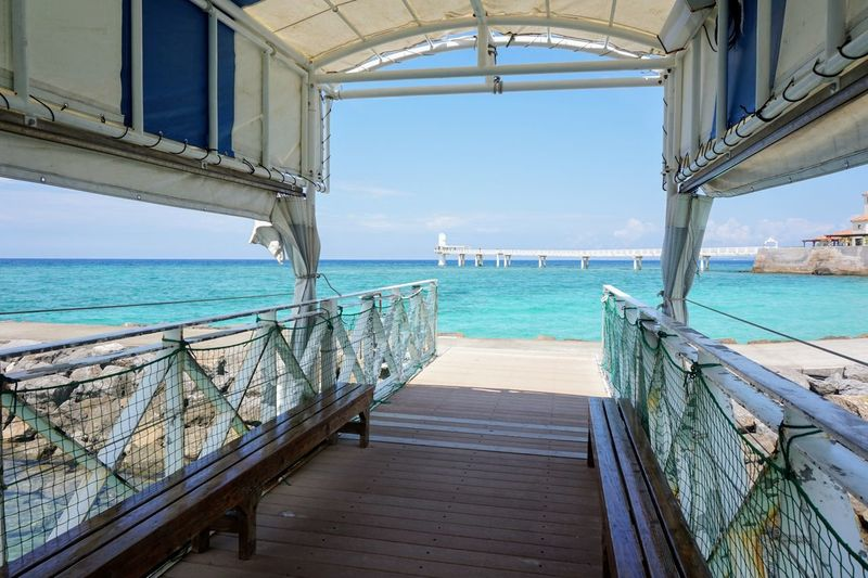 Water Sea Sky Horizon Over Water Horizon Nature Architecture Railing Day No People Wood - Material Land Built Structure Beach Scenics - Nature Beauty In Nature Wood Transportation The Way Forward Outdoors