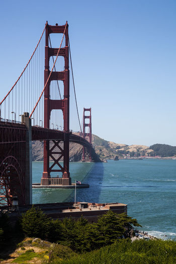 Gold Gate Bridge Sightseeing Tourist US Of A USA Archtitecture Bay Cable Bridge Connecting Connection Destination Iconic Landmark Ocean Road Trip San Francisco Bay Spanning Tourism