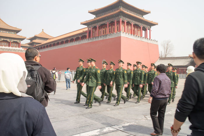 Adult Adults Only Architecture Building Exterior Built Structure Camouflage Clothing Day Forbidden City, Beijing, China Large Group Of People Men Military Military Parade Military Uniform Outdoors Parade People Real People Tiananmen Square Uniform
