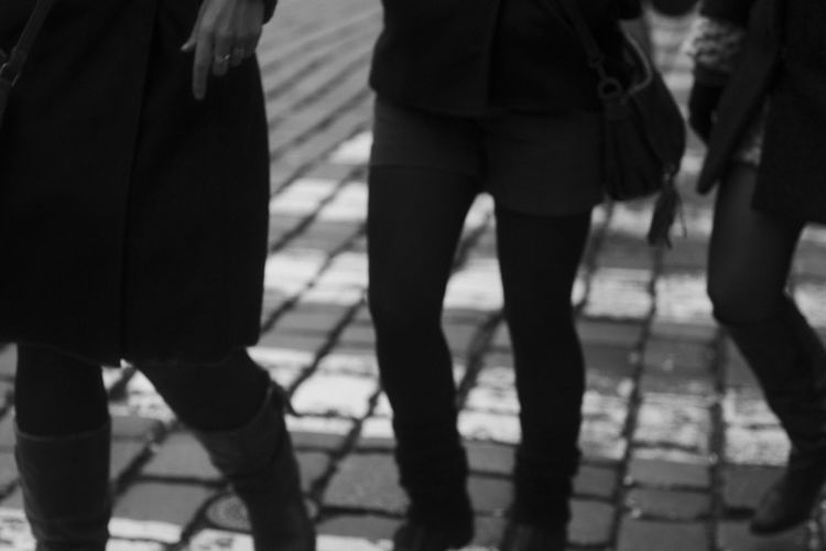 Czech Republic Day Human Leg Lifestyles Low Section Outoffocus Paving Stone Prague Real People Setting Sun Street Streetphotography Togetherness Women