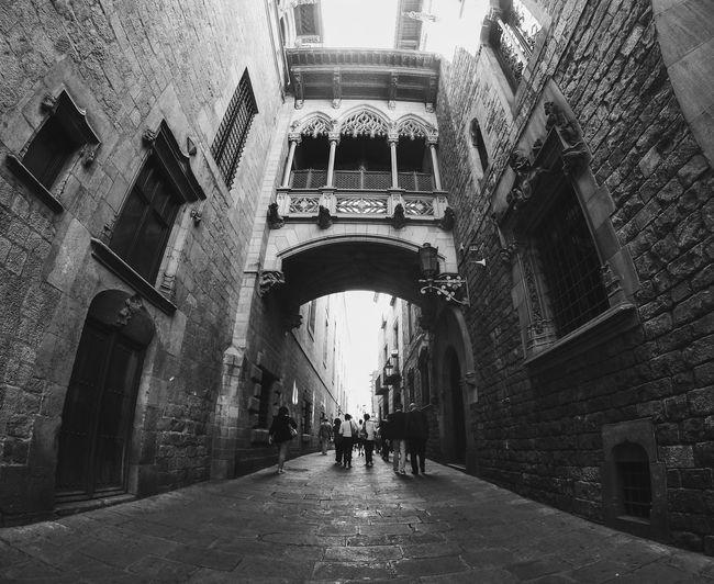 Fish-eye view of people walking in alley amidst buildings