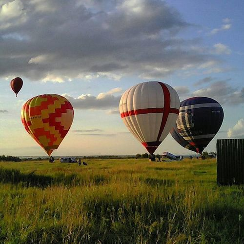 Hot air balloon over field