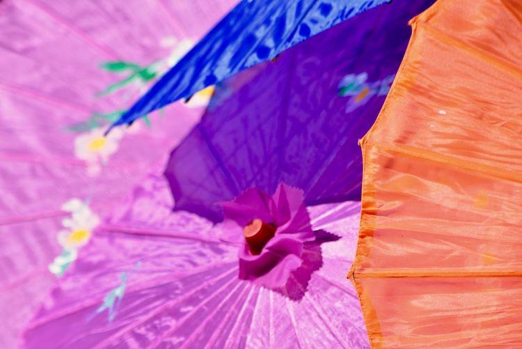 Close-up of colorful drink umbrella