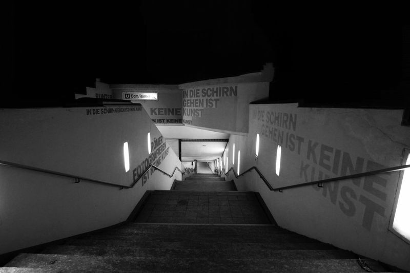 Architecture Illuminated Night Built Structure Steps Steps And Staircases Communication Text Indoors  Staircase No People Schirn Schirnkunsthalle frankfurt Frankfurt Am Main Frankfurt