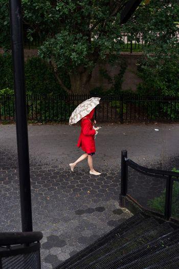 Woman Walking With Umbrella On Footpath