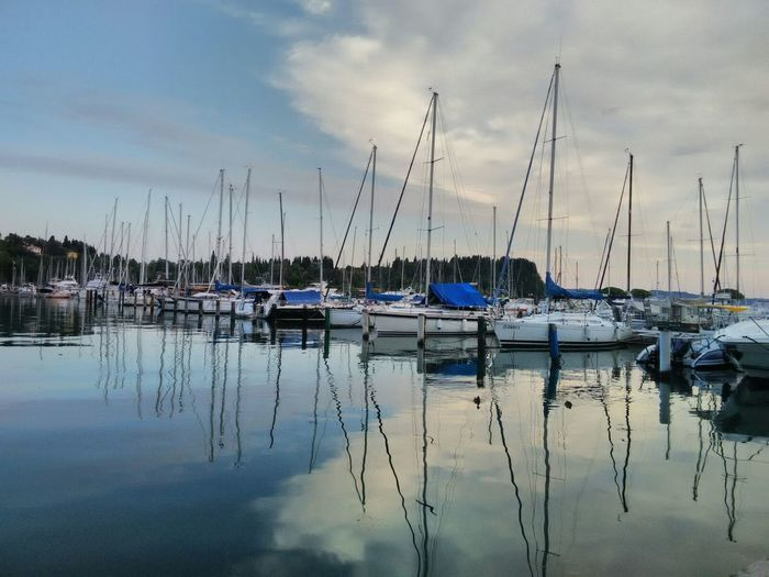 Reflection Nautical Vessel Water Moored Harbor Tranquility Tranquil Scene Cloud - Sky No People Sky Marina Travel Destinations Mode Of Transport Sailboat Mast Nature Landscape Natural Beautiful View Nature Photography Hairbor Nature_collection Transportation Outdoors Sea