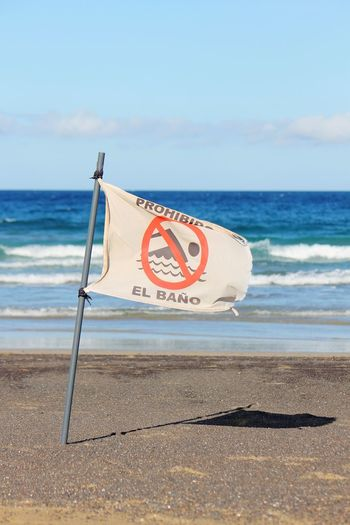 EyeEmNewHere Sea Beach No People Fuerteventura Warning Sign