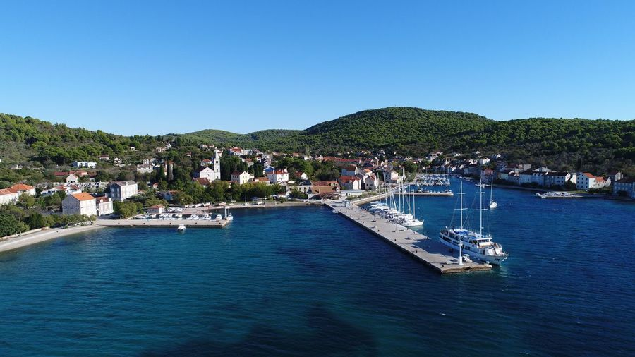 Island Croatia Zlarin Water Sky Blue Tree Nature Clear Sky Nautical Vessel