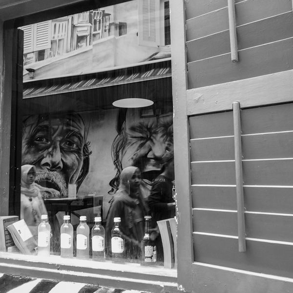 Building Exterior Outdoors Architecture City Wall Murals Graffiti Day Singaporestreetphotography Singapore Black And White Photography Black And White Reflection Girls Bottle Wooden Window Shutters