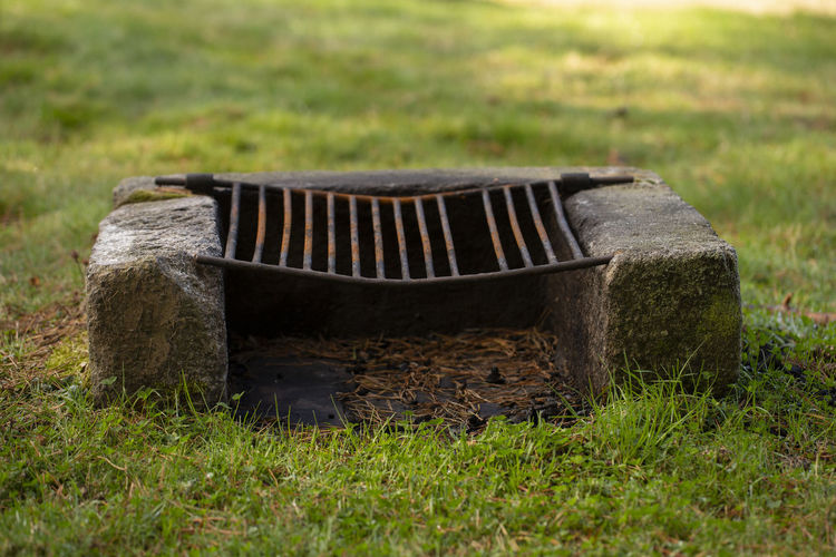 Grill in a park Grass Nature Day No People Field Outdoors Landscape Single Object Metal Environment Old Close-up Rural Scene Grid Grill Broiler Asturias SPAIN Autumn Season  Park Recreational Area Horizontal
