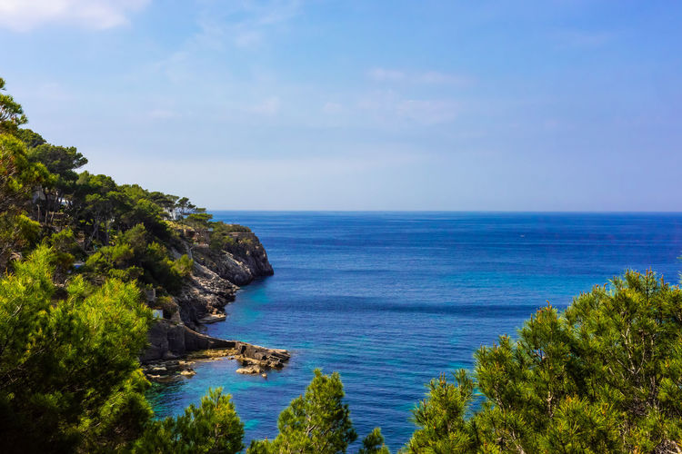 Mallorca SPAIN Summertime Baleares Balearic Islands Bay Beach Beauty In Nature Blue Cloud - Sky Day Go-west-photography.com Green Color Horizon Horizon Over Water Land Nature No People Outdoors Plant Scenics - Nature Sea Sky Summer Tranquil Scene Tranquility Travel Destinations Tree Water