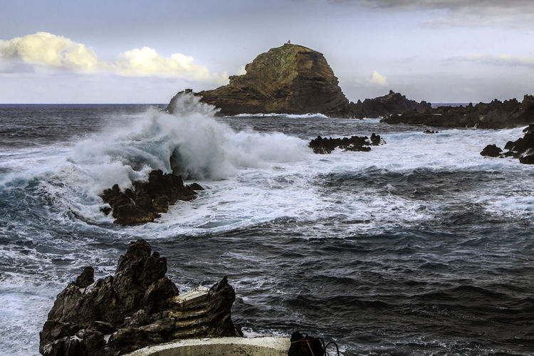 Beauty In Nature Cloud - Sky Day Horizon Over Water Idyllic Madeira Island Motion Nature No People Outdoors Porto Moniz Madeira Power In Nature Remote Rock Rock - Object Rock Formation Rushing Scenics Sea Shore Sky Splashing Tranquil Scene Water Wave