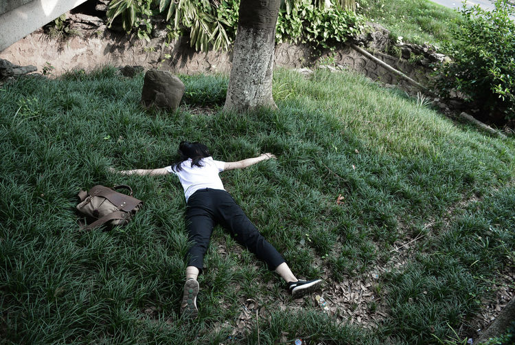 Crazy Grass Lying Down Nature One Person Outdoors Plant Young Adult