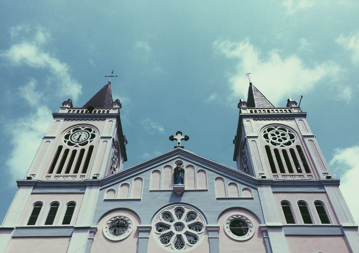 Our Lady of the Atonement Cathedral, Baguio City Phil. Religion Place Of Worship Low Angle View Architecture Cross Sky