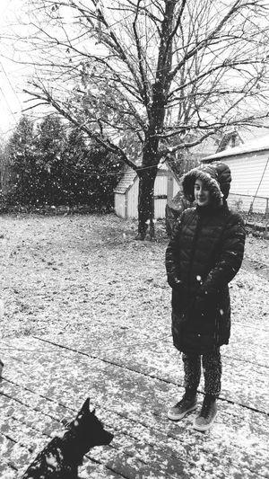 Cold morning Coat Snow Dog Snowfall Snowing Winter Teenager Milwaukee Full Length Tree Childhood Child Standing Hood