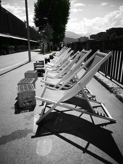 Deckchairs Relaxation Black And White Shadow Tree Sunlight Sky Sleeping