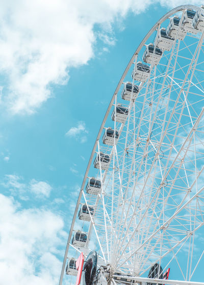 Amusement Park Amusement Park Ride Ferris Wheel Sky Arts Culture And Entertainment Cloud - Sky Low Angle View Built Structure Architecture Fairground Large Nature Day Blue Leisure Activity No People Outdoors Circle Geometric Shape Shape Ferris Wheel Ferriswheel Wallpaper Sky And Clouds Sky_collection