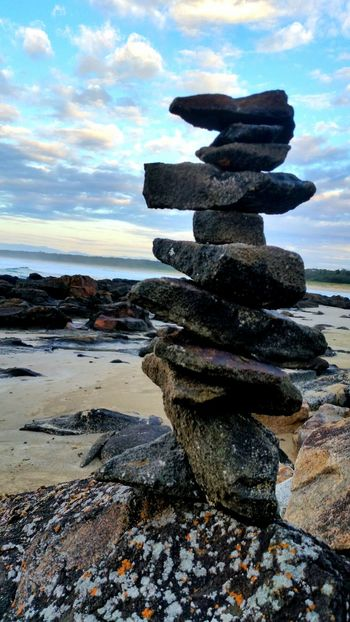 Hello World Taking Photos Rockstar Rockstacking beach Sand Sea Balance Water Stack Cloud - Sky Nature Stability No People Sky Outdoors Day BYOPaper! EyeEmNewHere