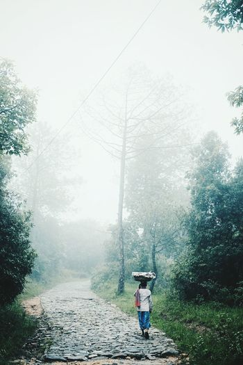 Rear view of man walking on road during foggy weather