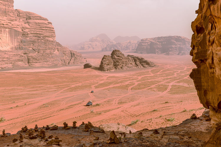 Panoramic view of the desert of wadi rum