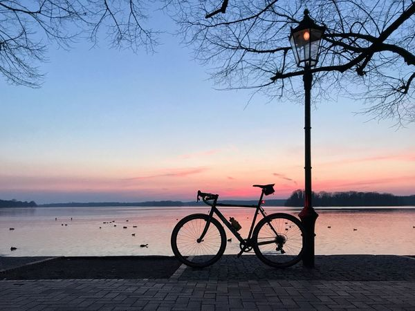 Sunset Water Bicycle Nature Outdoors Colour Your Horizn Sea Sky Tree Bare Tree Beauty In Nature No People