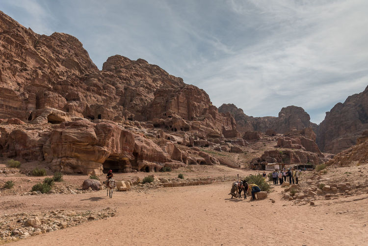 Petra Jordan Adventure Day Desert Mountain Nature Outdoors Rock - Object Rock Formation Sky Tombs