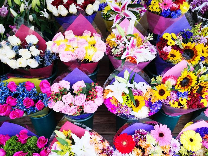 Close-up of multi colored flowers for sale in market