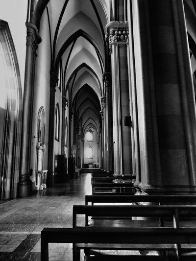 Arch Religion Architectural Column In A Row Spirituality Architecture Black & White Interior Church