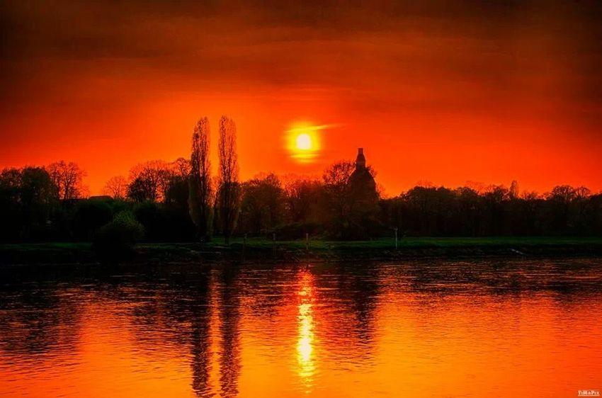 Dresden Elbufer Sunset Afterglow