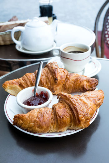 Breakfast With Croissants And Jam On Table