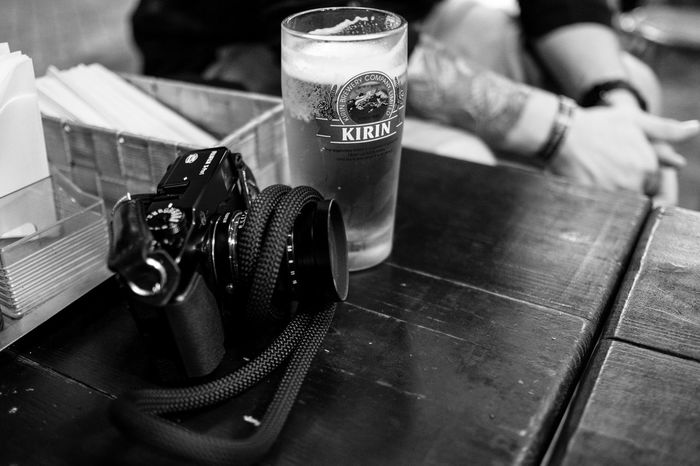 Beers and Cameras Beer Beers Camera Camera - Photographic Equipment Camera Work SLR SLR Camera Beer - Alcohol Beer Glass Beer Time Beers And Cameras Black And White Friday Blackandwhite Blackandwhite Photography Close-up Day Focus On Foreground Indoors  Kirin No People Table Tabletop Tattoo