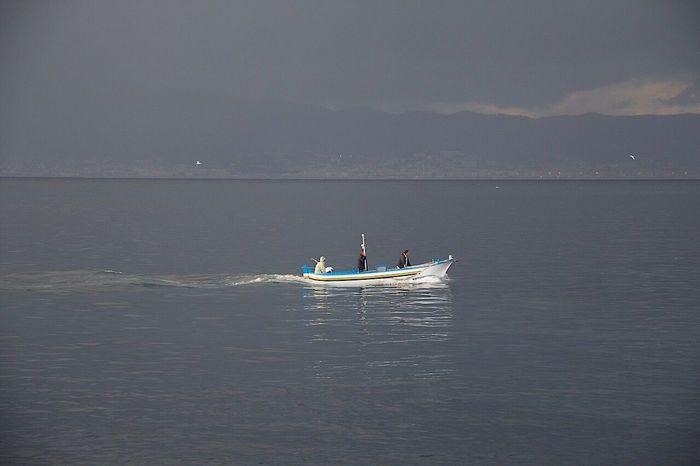 Sea Cloudy Day Fishing Fishermen Boat Gray Day. True Colors Fishing Boat