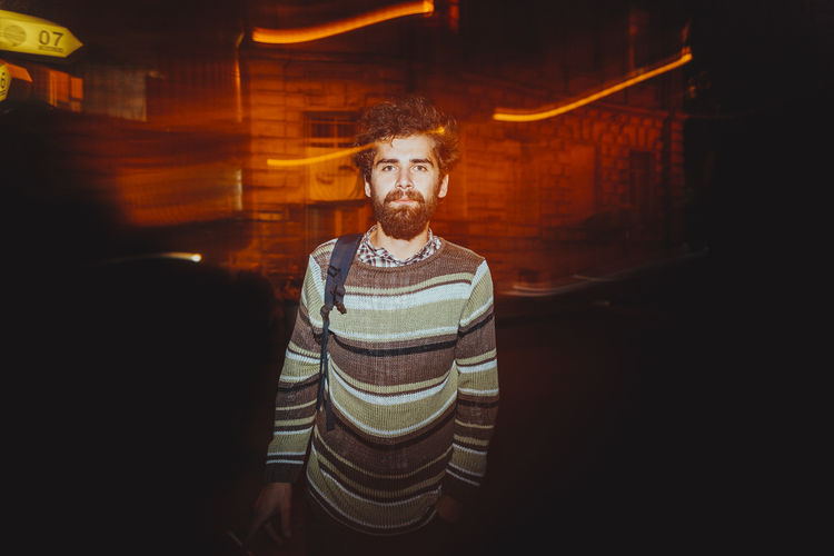 Front View Beard Young Men Looking At Camera One Person Young Adult Facial Hair Indoors  Portrait Standing Casual Clothing Waist Up Adult Real People Lifestyles Men Striped