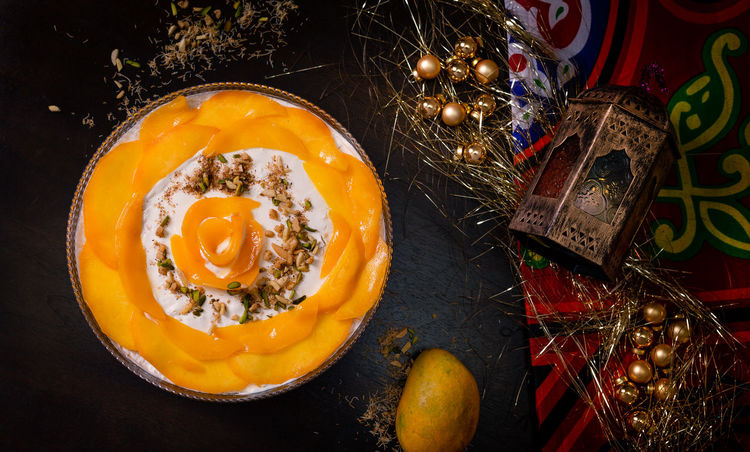Konafa Celebration Christmas Close-up Decoration Directly Above Egg Egg Yolk Food Food And Drink Freshness Fried Egg Fruit Healthy Eating High Angle View Indoors  No People Ready-to-eat Still Life Table Vegetable Wellbeing