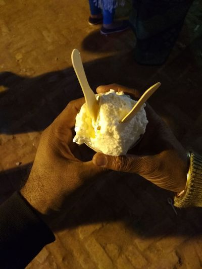 Two Hand Eating Item Curd Food And Drink Food Healthy Eating One Person Indoors  Adult Human Body Part