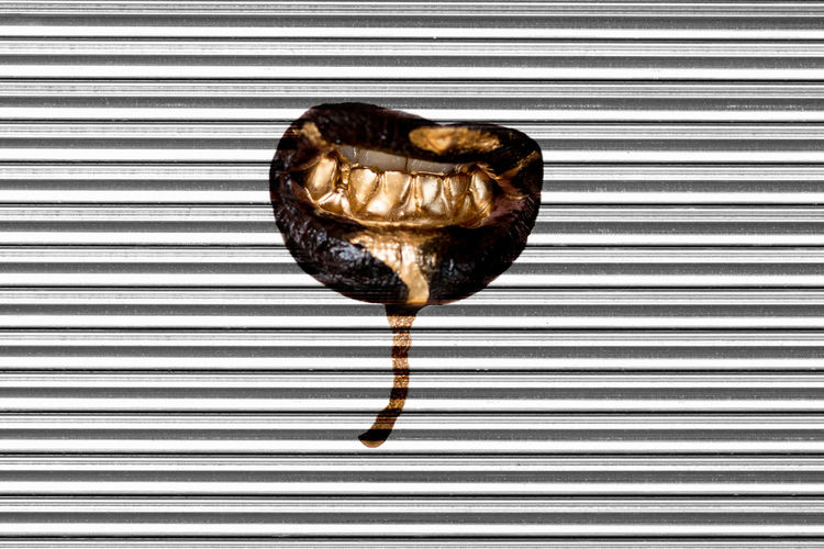 Liquid gold makeup dripping from the mouth on a silver shutter background Fashion Stories Gold Liquid Makeup Mouth Shutters Close-up Cover Day Drips  Fashion Photography Gold And Silver  Liquid Gold Makeupartist Metal Mouth Open Mouth Drips Mouth Watering Mouths No People Pattern Silver  Striped Teeth Teeth Model Visual Creativity
