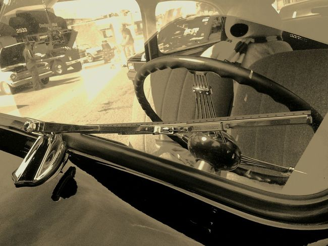 Monochrome Photography 1938 Chevy. Looking through the split windshield. Close-up Reflection Journey No People Black And White Photography Classic Car Windshield Windshield Wipers The Drive