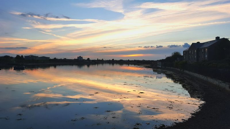Tail end of a sunset from the bridge Sunset Colours Gosport Hampshire  Creek Water Reflections