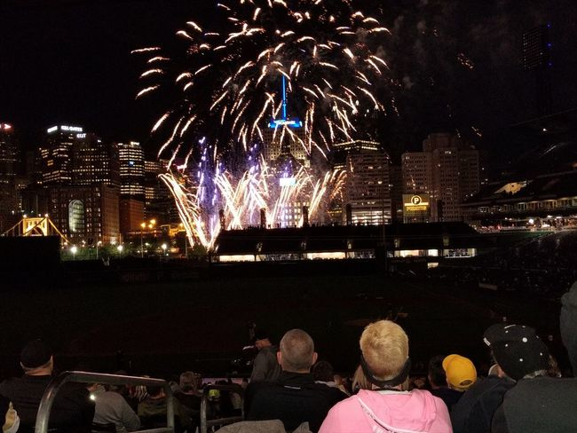 Night Celebration Firework Display Illuminated Arts Culture And Entertainment Firework - Man Made Object Multi Colored Event People Cityscape City Outdoors Sky Excitement Spectator Baseball Stadium Pittsburgh Pirates PNC Park Pittsburgh Pennsylvania Large Group Of People Motion Awe Exploding Celebration Event