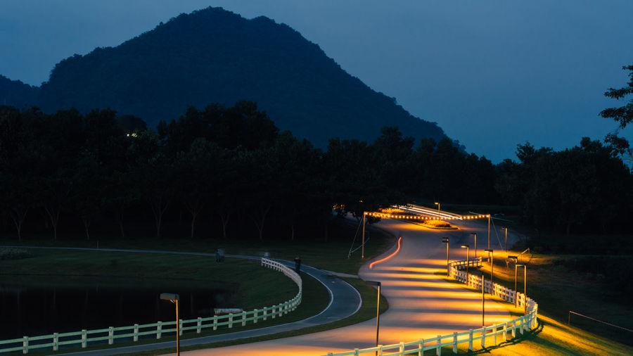 Illuminated Long Exposure Mountain Night No People Outdoors Speed Tree