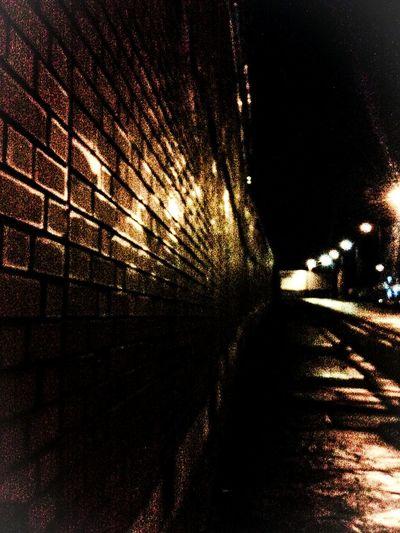 Giant wall around Strangeways prison, Manchester. Glad I'm on this side. High Wall Prison Strangeways Night Time Urban Street Manchester